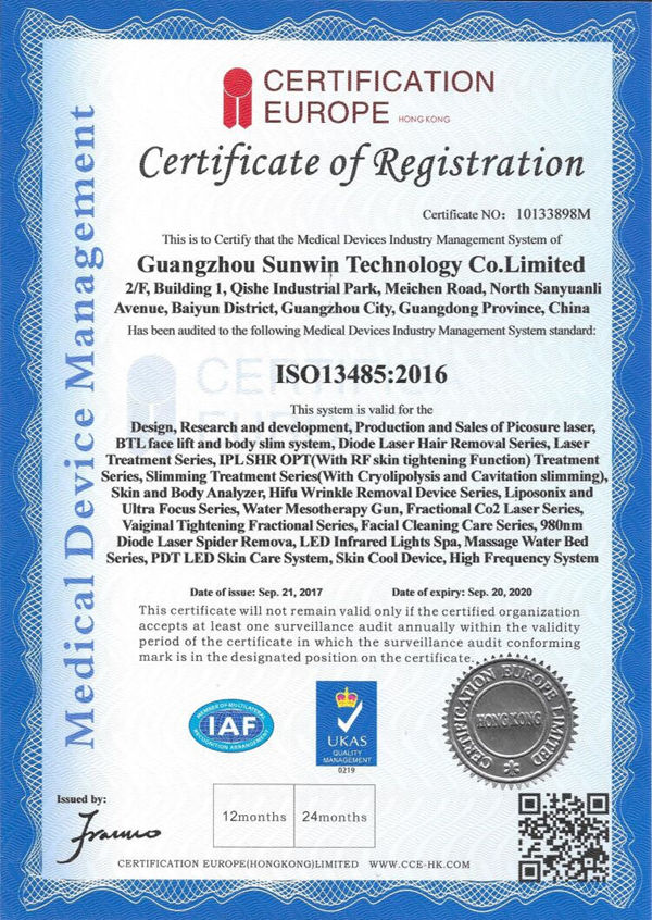 ISO13485 for medical & beauty equipment